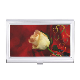 White rose on red background case for business cards