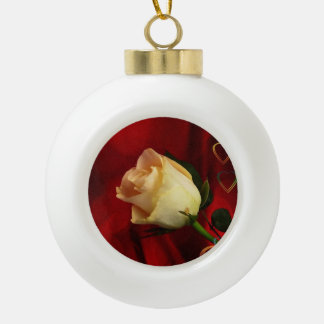 White rose on red background ceramic ball decoration
