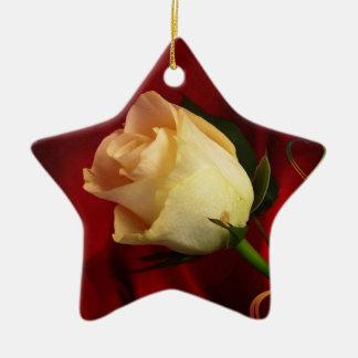 White rose on red background ceramic star decoration