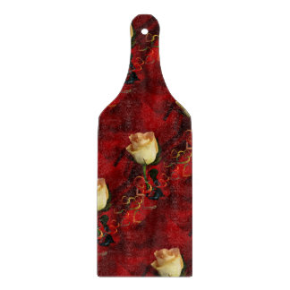 White rose on red background cutting board