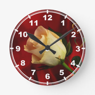 White rose on red background round clock