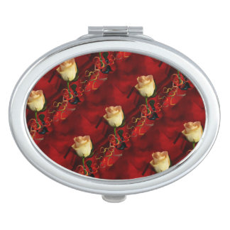 White rose on red background vanity mirrors