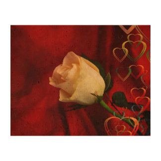 White rose on red background cork fabric