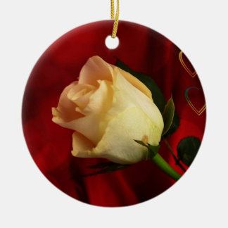 White rose on red background round ceramic decoration