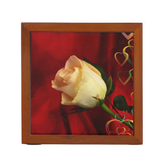 White rose on red background desk organizers