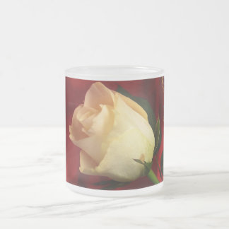 White rose on red background frosted glass mug