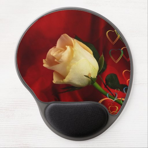 White rose on red background gel mousepads