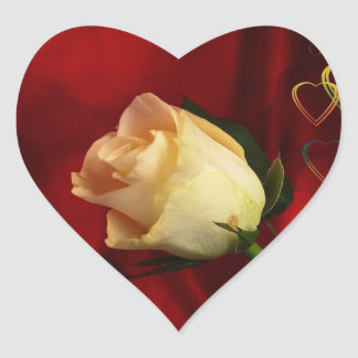 White rose on red background heart sticker