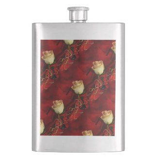White rose on red background hip flask