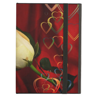 White rose on red background cover for iPad air