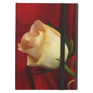 White rose on red background case for iPad air