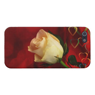 White rose on red background iPhone 5/5S cover
