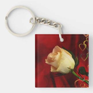 White rose on red background Single-Sided square acrylic keychain