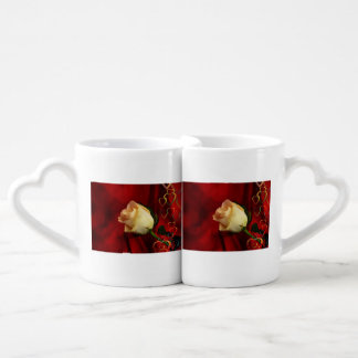 White rose on red background couples' coffee mug set