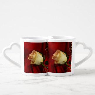 White rose on red background lovers mug set