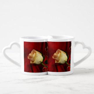 White rose on red background lovers mug sets
