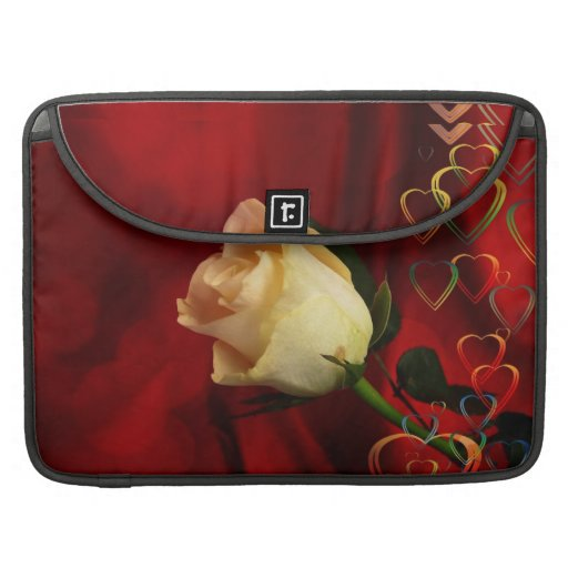 White rose on red background sleeves for MacBooks