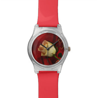 White rose on red background wrist watches