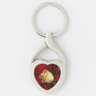 White rose on red background Silver-Colored Heart-Shaped metal keychain
