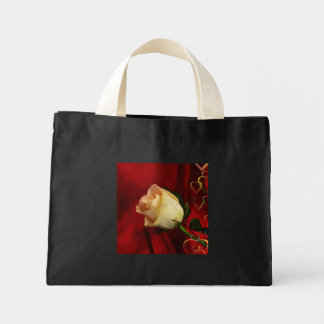 White rose on red background mini tote bag