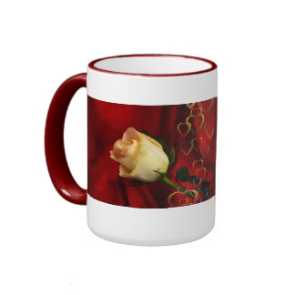 White rose on red background coffee mug