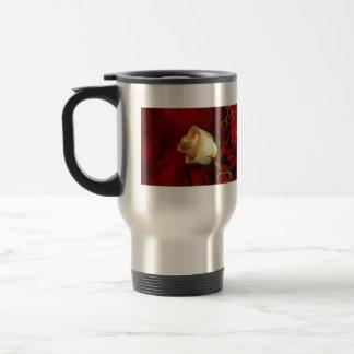 White rose on red background mug