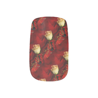 White rose on red background nail art