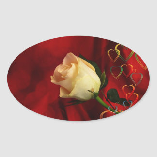 White rose on red background oval sticker
