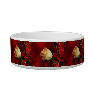 White rose on red background pet bowls