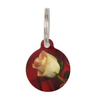 White rose on red background pet nametags