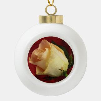 White rose on red background ceramic ball decoration