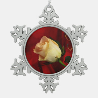 White rose on red background pewter snowflake decoration
