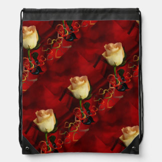 White rose on red background backpack