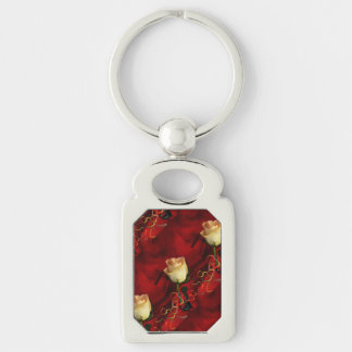 White rose on red background Silver-Colored rectangle key ring