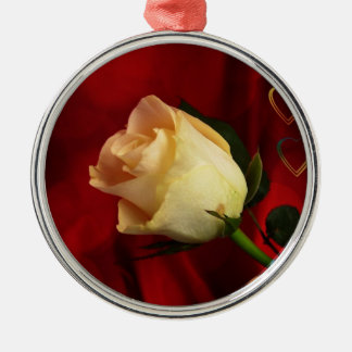 White rose on red background Silver-Colored round decoration