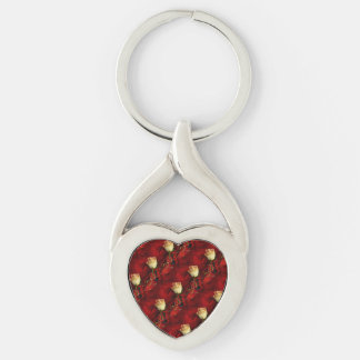 White rose on red background Silver-Colored twisted heart key ring