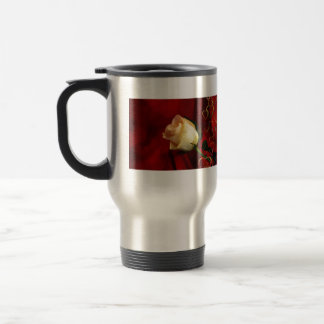 White rose on red background stainless steel travel mug