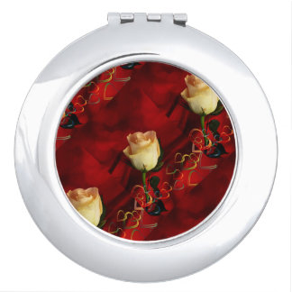 White rose on red background travel mirrors