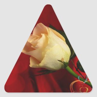 White rose on red background triangle sticker