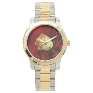 White rose on red background wristwatch