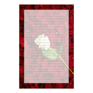 White Rose On Red Petals Customised Stationery