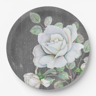 White Rose on Weathered Black Paper Plate