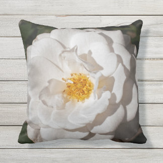 White Rose Outdoor Throw Pillow