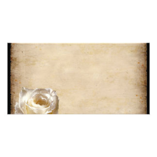 White Rose Parchment Vintage Wedding Invitations Custom Photo Card