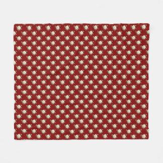 White Rose Pattern (maroon) Fleece Blanket