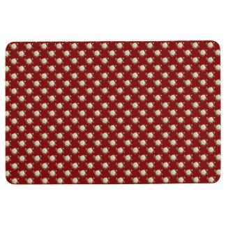 White Rose Pattern (maroon) Floor Mat