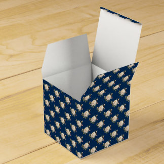 White Rose Pattern (navy blue) Favor Box