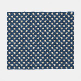 White Rose Pattern (navy blue) Fleece Blanket