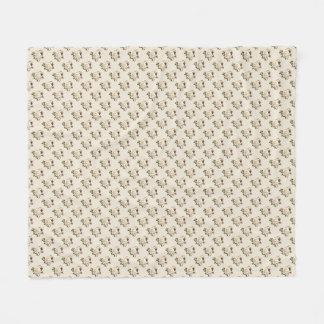 White Rose Pattern (sand) Fleece Blanket