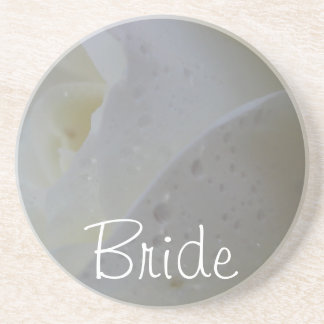 White Rose Petal Wedding Drink Coaster